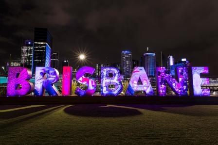 Brisbane written in big neon letters