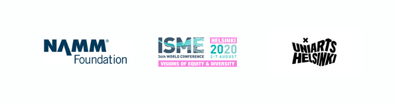 Logos for ISME World Conference partners NAMM Foundation and UniArts