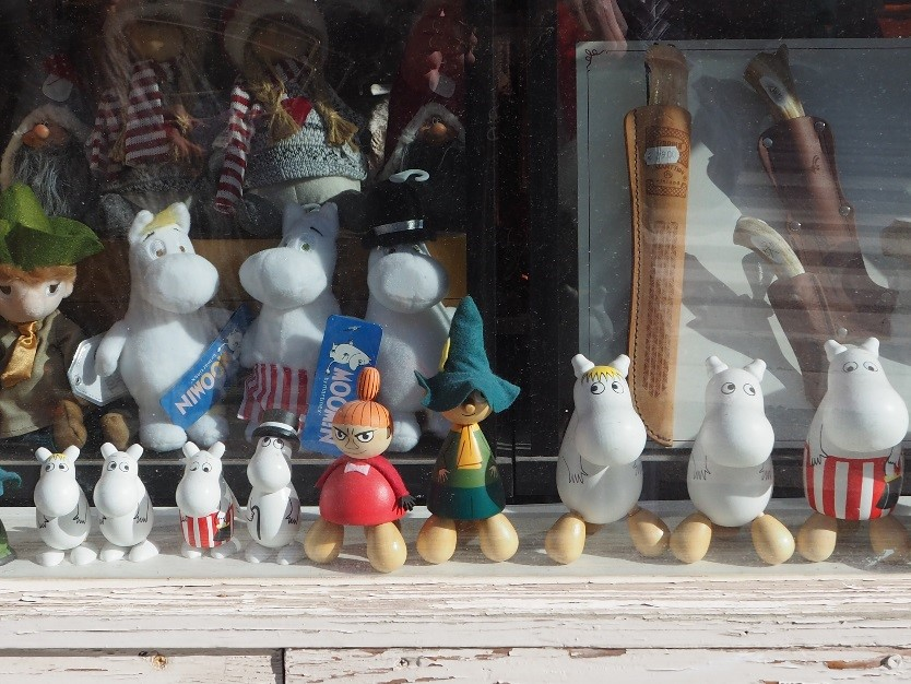 Moomins in a shop window in Helsinki, venue for the ISME 202 World Conference