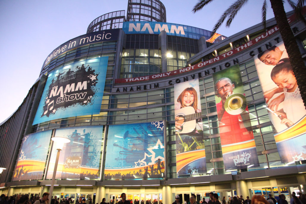 NAMM show exterior with impressive posters