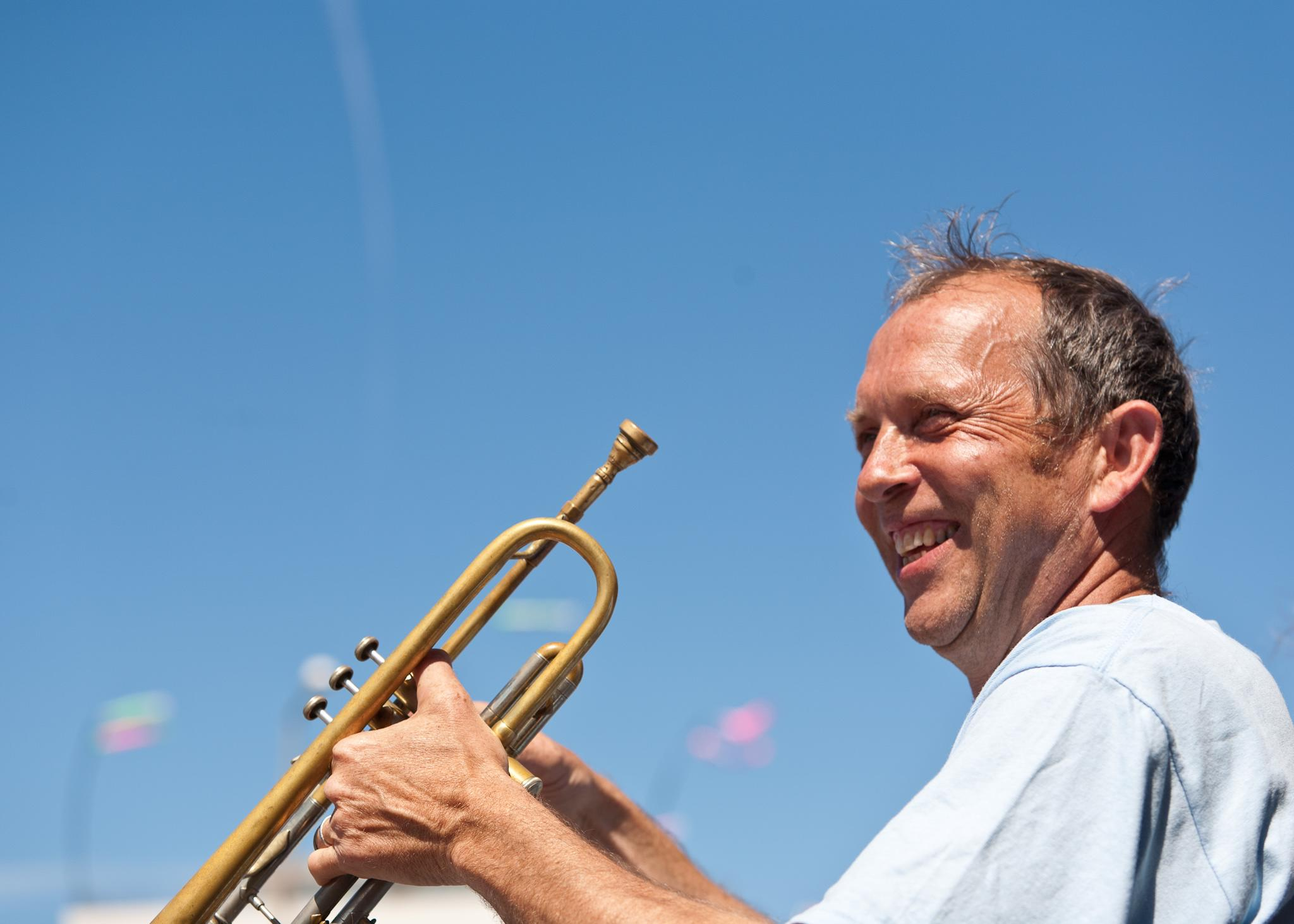 Peter Moser with his trumpet, co chair of the ISME CMA