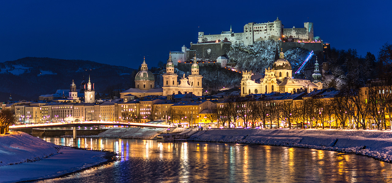 Salzburg castle by night