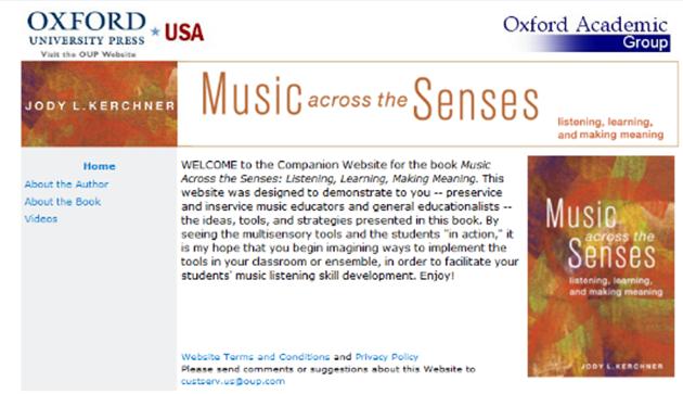 Screenshot of Music across the Senses companion website