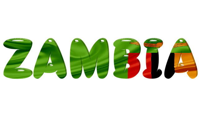 The word Zambia written in the colours of the country's flag