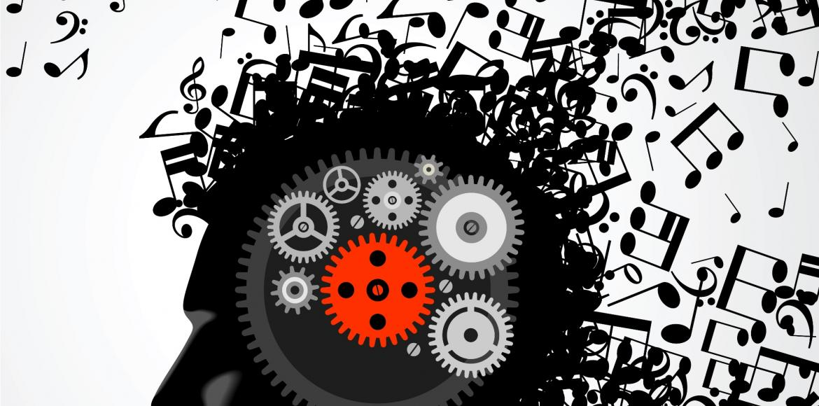 Head containing cogs and with musical notes pouring out as if thoughts