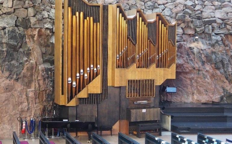 The organ in the Church of the Rock, Helsinki