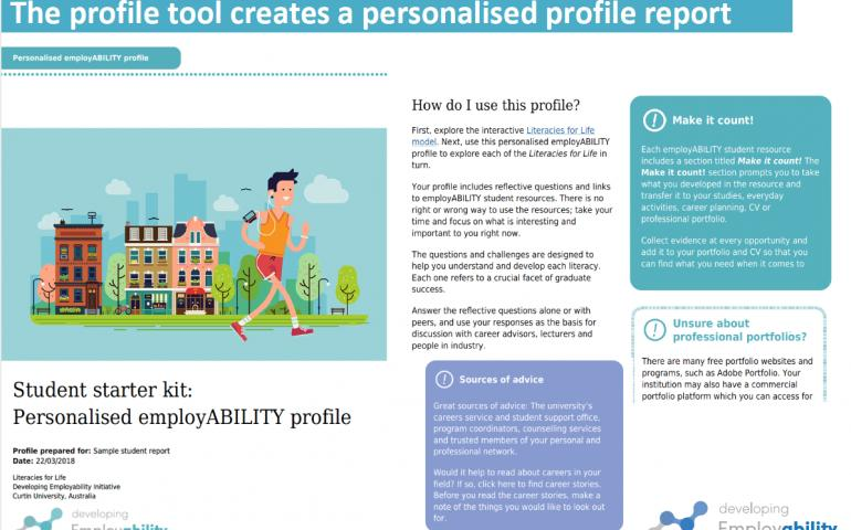 Extract from student personalised profile report