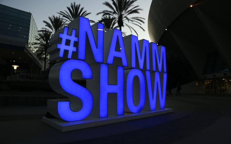 #NAMM SHOW in a neon sign