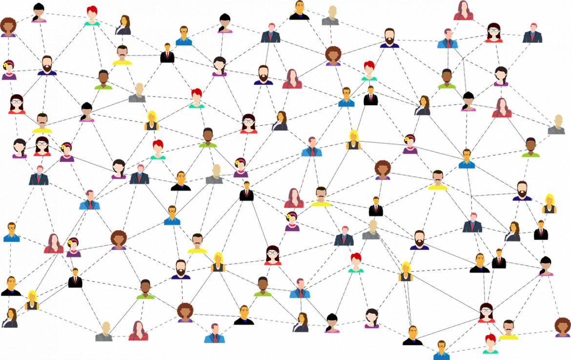 Lots of cartoon heads of people connected with dotted lines showing everyone is connected