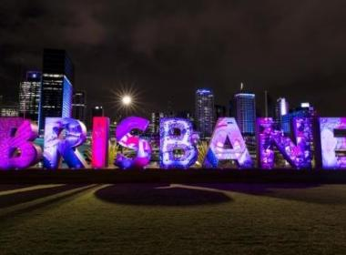 Brisbane written in big neon letters