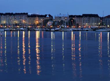 Helsinki wharf at night