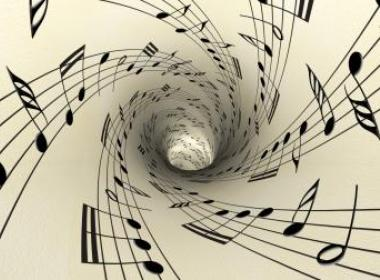 Sheet music that has been made into a funnel