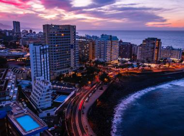 Coast road and high rise buildings,  Puerto de la Cruz, Canary Islands