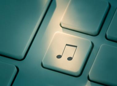 Music is  button on the computer keyboard